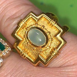 Designer Julie Vos Blue Chalcedony 24k gold ring